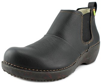 El Naturalista Nc70 Women Round Toe Leather Black Bootie.