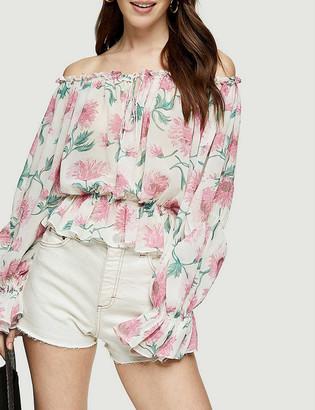 Topshop Floral-print bardot crepe blouse