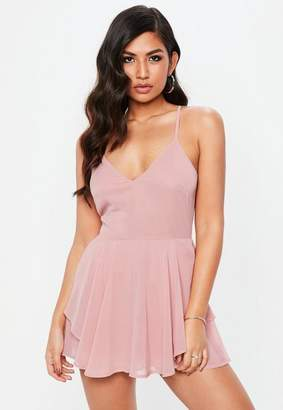 Missguided Pink Chiffon Floaty Skirt Overlay Romper