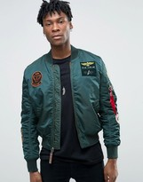 Alpha Industries Ma-1 Bomber Jacket With Patches In Dark Petrol Slim Fit