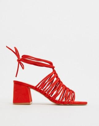 Public Desire Bali ankle tie block heel sandal in red