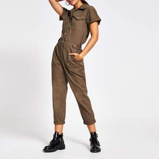 River Island Womens Khaki twill utility short sleeve jumpsuit