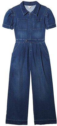 Habitual Henley Puff Sleeve Jumpsuit (Big Kids) (Indigo) Girl's Jumpsuit & Rompers One Piece