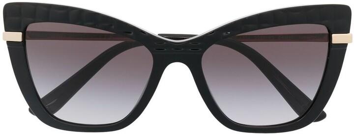Dolce & Gabbana Eyewear Half Print Cat-Eye Frame Sunglasses