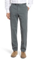 Incotex Flat Front Solid Cotton Blend Trousers