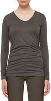 Akris Punto Long-Sleeve Lightweight Jersey Top, Olive