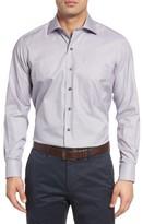 David Donahue Men's Regular Fit Microcheck Sport Shirt