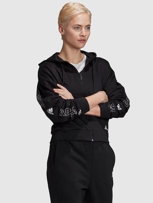 adidas Badge Of Sport Printed Full Zip Hoodie - Black