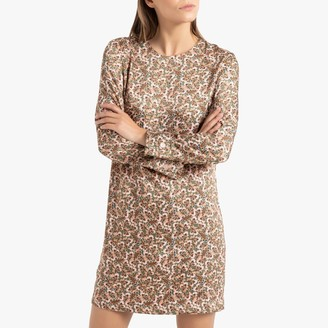 La Redoute Collections Short Shift Dress in Satin Feel Floral Print with Long Sleeves