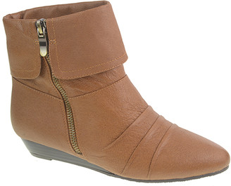 Chinese Laundry Women's Casual boots COGNAC - Cognac Tehya Leather Wedge Bootie - Women