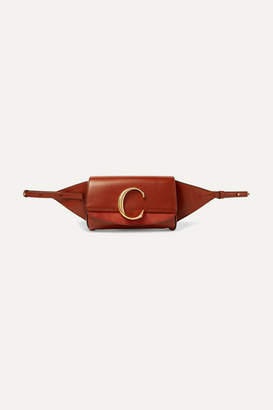 Chloé C Suede-trimmed Leather Belt Bag - Brown