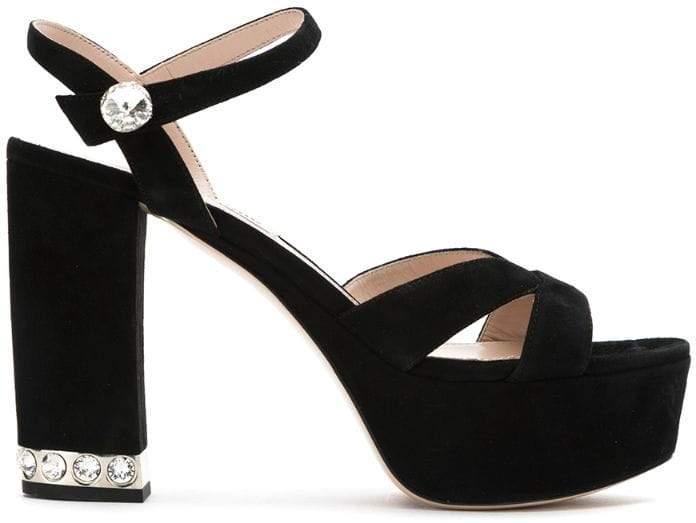 6da1fd3b08 Miu Miu Suede Women's Sandals - ShopStyle