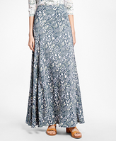 Brooks Brothers Silk Crepe Print Maxi Skirt