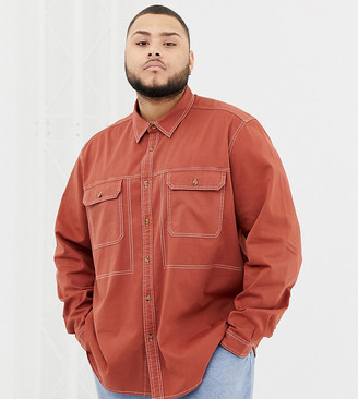 Asos DESIGN Plus overshirt with contrast stitching in rust