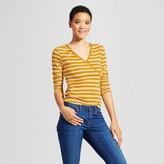 Mossimo Women's Knit Surplice Long Sleeve T-Shirt Gold