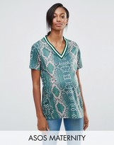 Asos T-Shirt in Bright Snake Print with Stripe Tipping in Longline