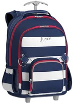 Pottery Barn Kids Rolling Backpack, Fairfax Stripe Navy/White, No Patch