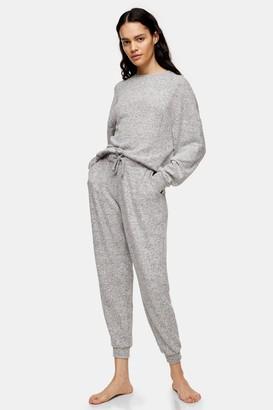 Topshop Womens Grey Marl Super Soft Loungewear Sweatshirt - Grey Marl
