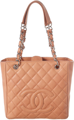 Chanel Pink Quilted Caviar Leather Petit Shopping Tote