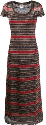 M Missoni short sleeve striped pattern jersey dress