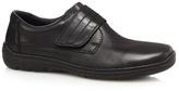 Rieker Black Leather Rip Tape Slip-on Shoes