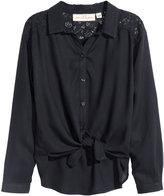 H&M Blouse with Lace Yoke - Black - Kids