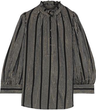 Antik Batik Meeti Ruffle-trimmed Metallic Striped Georgette Blouse
