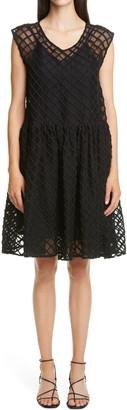 Merlette New York Dawson Gingham Embroidered Silk Organza Dress