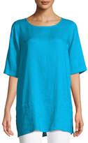 Caroline Rose Tissue Linen Front-Pocket Tunic , Petite