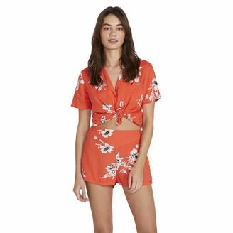 Volcom Womens Orange Floral Short Sleeve V Neck Crop Top Cropped Romper Juniors Size: L