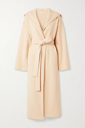 The Row Eliona Belted Hooded Merino Wool-blend Coat - Cream