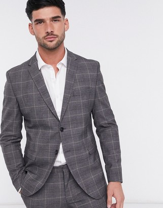 Selected suit jacket slim fit gray check