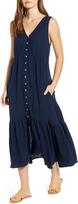 BeachLunchLounge Lexa Sleeveless Cotton Double Cloth Midi Dress