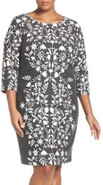 Eliza J Jacquard Sheath Dress (Plus Size)