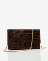 Le Château Croco Embossed Faux Leather Flapover Clutch