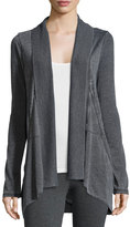 Marc NY Performance Slub-Jersey Open-Front Cardigan, Smoke