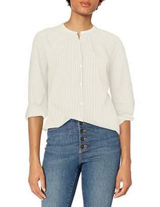 Goodthreads Lightweight Cotton Sleeve-Interest Shirt White/Blue Dobby Stripe, S