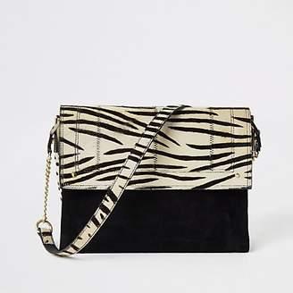 River Island Black leather zebra print underarm bag