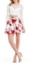 B. Darlin Long-Sleeve Lace Illusion-Yoke Top Two-Piece Floral Fit-and-Flare Party Dress