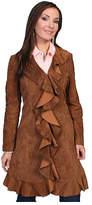 Scully Women's Knee Length Boar Suede Ruffle Coat L504 - Cinnamon Boar Suede Western Clothing