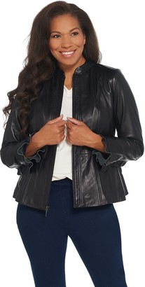 Isaac Mizrahi Live! Peplum Leather Jacket with Ruffle Sleeve