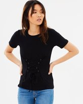 Miss Selfridge D-Ring Lace Up Tee