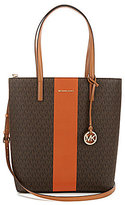 MICHAEL Michael Kors Hayley Center Stripe Signature North/South Tote