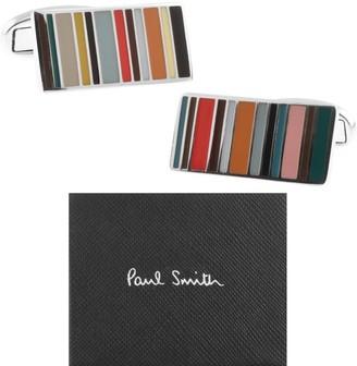Paul Smith Stripe Cufflinks Set Silver
