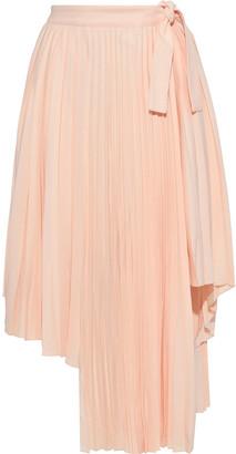 Maje Asymmetric Pleated Crepe Skirt