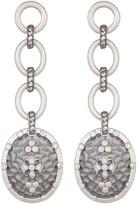 Freida Rothman Long Hammered CZ Accent Clover Shield Drop Earrings