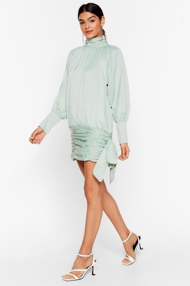 Nasty Gal Womens Tie Me a River Satin Mini Dress - Green - L, Green