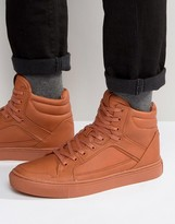 Asos High Top Sneakers In Orange