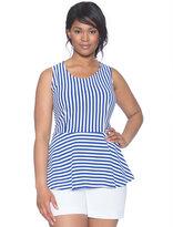 ELOQUII Plus Size Sleeveless Striped Peplum Top