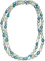 Honora Fresh by Pearl Necklace, Sterling Silver White Sky Blue, Mint and Teal Baroque Halo Cultured Freshwater Pearl Necklace (7-8mm)